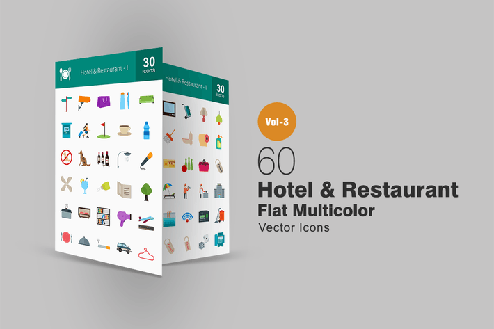 Thumbnail for 60 Hotel & Restaurant Flat Multicolor Icons