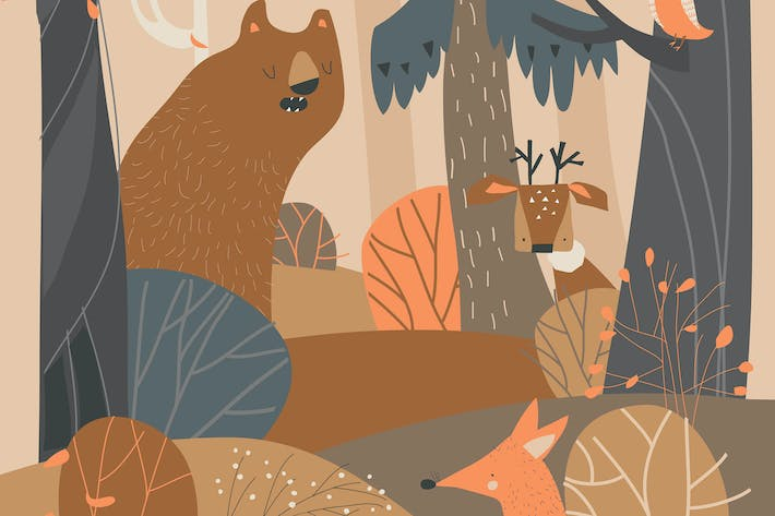 Cover Image For Cartoon cute animals in autumn colored forest.