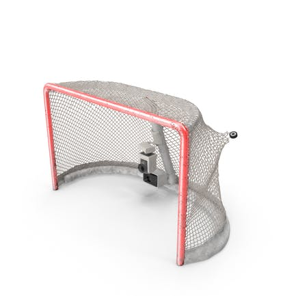 Ice Hockey Goal With Puck Ripping Net Bottom