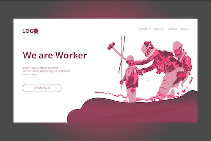 Construction Worker- Banner & Landing Page