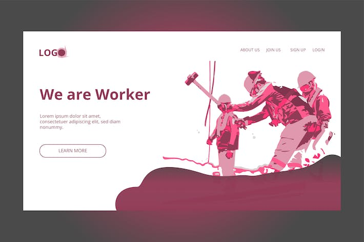 Thumbnail for Construction Worker- Banner & Landing Page
