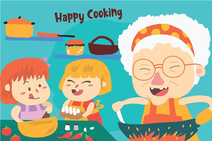 Thumbnail for Cook With Grandma - Vector Illustration