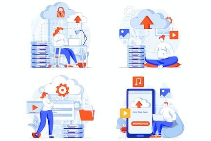 Cloud Computing Web Concept Set