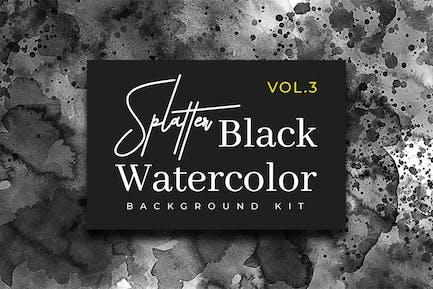 Splatter Black Watercolor Vol. 3