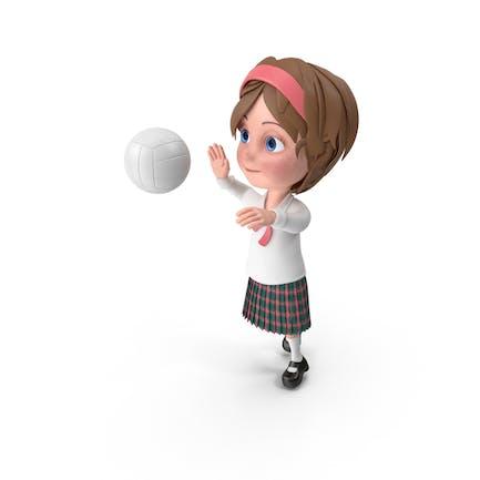 Cartoon Girl Meghan Playing Volleyball