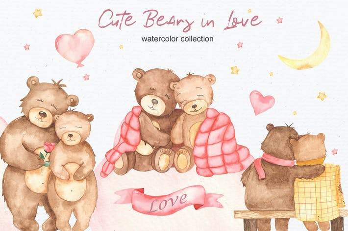 Watercolor cute bears in love. Clipart and cards