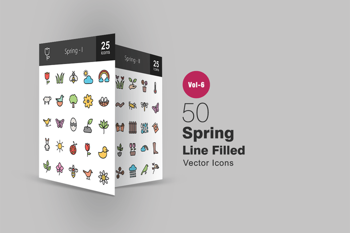 Thumbnail for 50 Spring Filled Line Icons