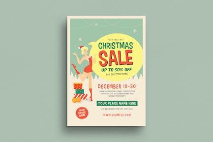 Retro Chirstmas Sale Event Flyer