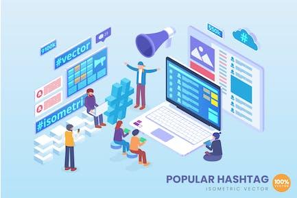 Isometrische populäre Hashtaganalyse Vektor konzept