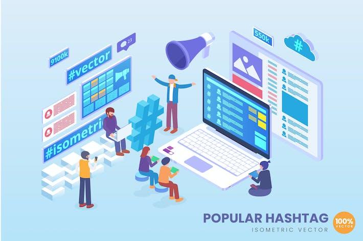 Thumbnail for Isometrische populäre Hashtaganalyse Vektor konzept