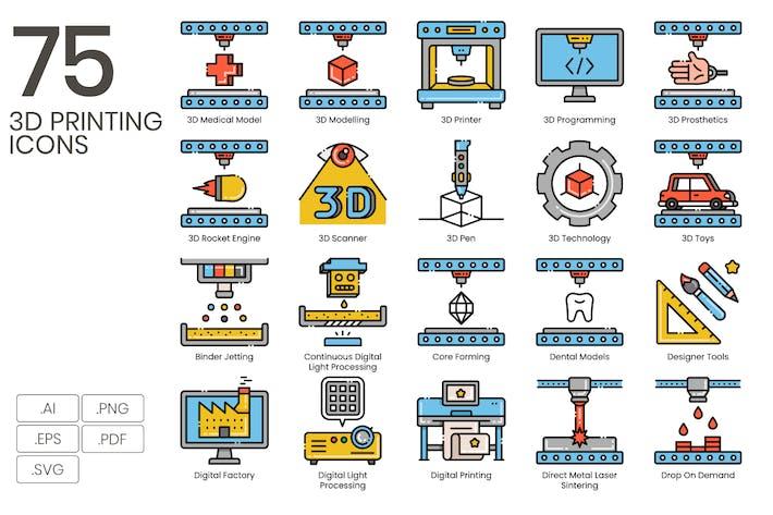 Thumbnail for 75 Íconos de línea de impresión 3D