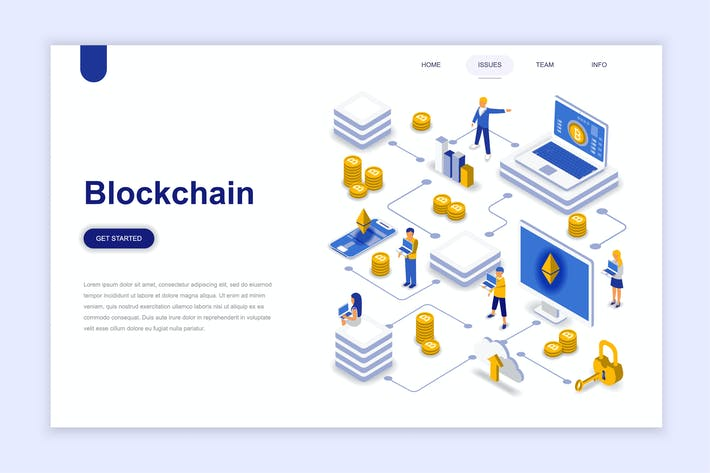 Cover Image For Blockchain Isometric Landing Page