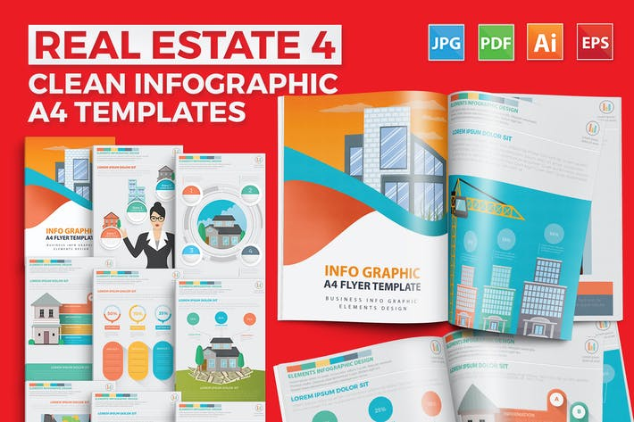 Thumbnail for Real estate 4 infographic Design