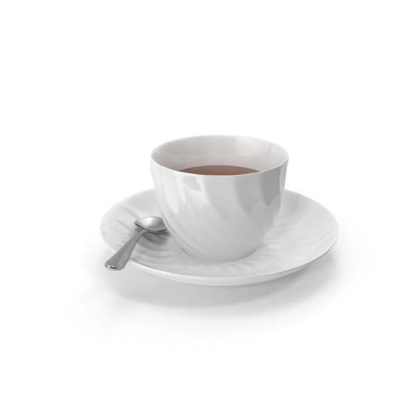 White Tea Cup with Spoon