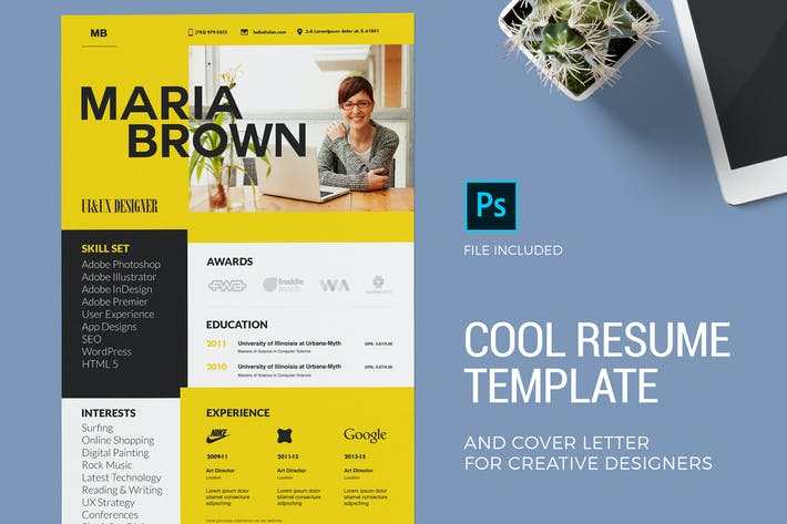 Thumbnail for Cool Resume Template & Cover Letter