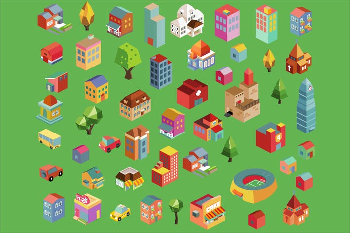 Cover Image For Colorful vector isometric buildings