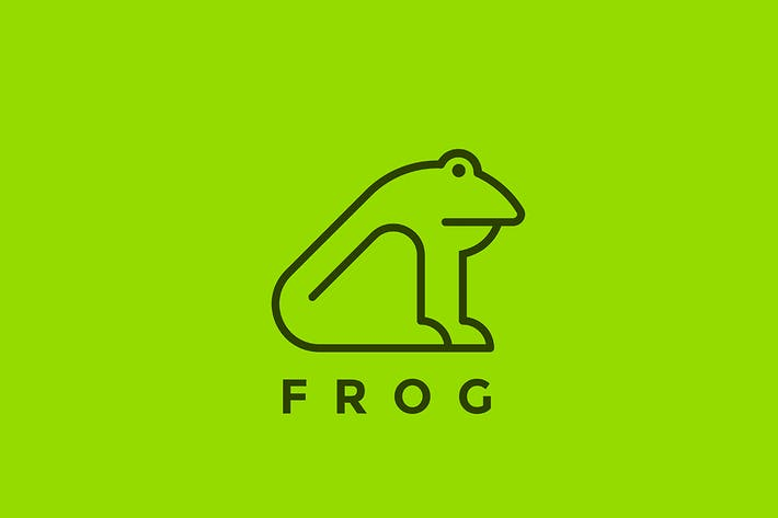 Thumbnail for Logo Frog sitting Linear style