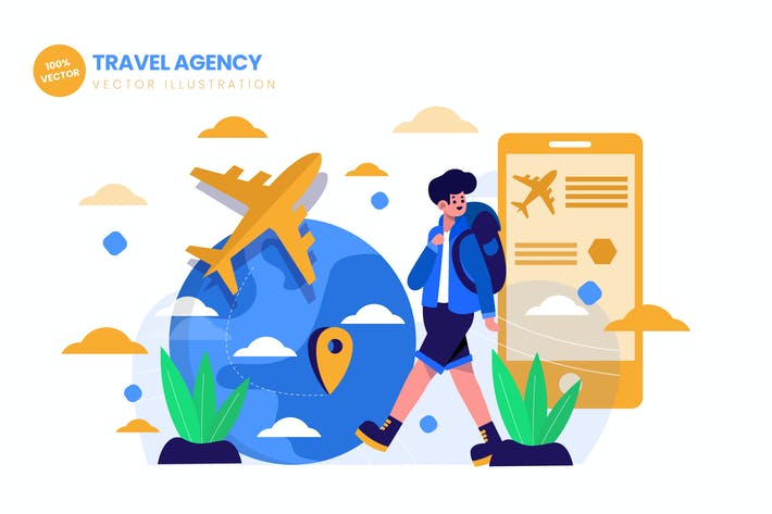 Cover Image For Travel Agency For Traveling Flat Illustration