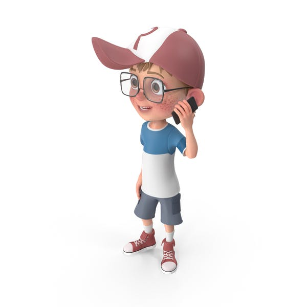 Cartoon Boy Talking on Phone