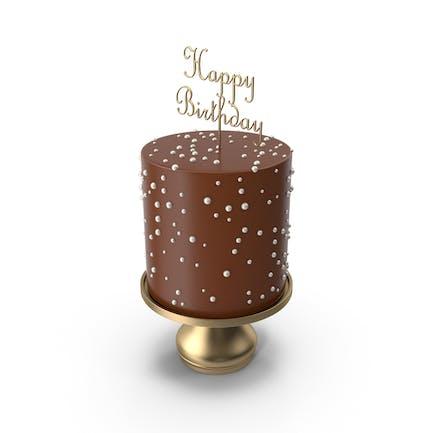 Schokoladenkuchen mit Gold Happy Birthday Top