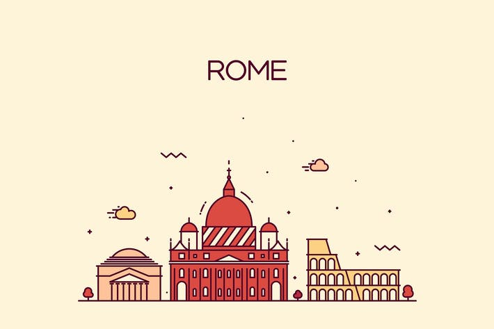 Cover Image For Rome skyline, Italy