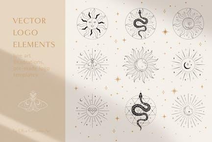 Sacred Sun Moon Decorative Design Illustrations.