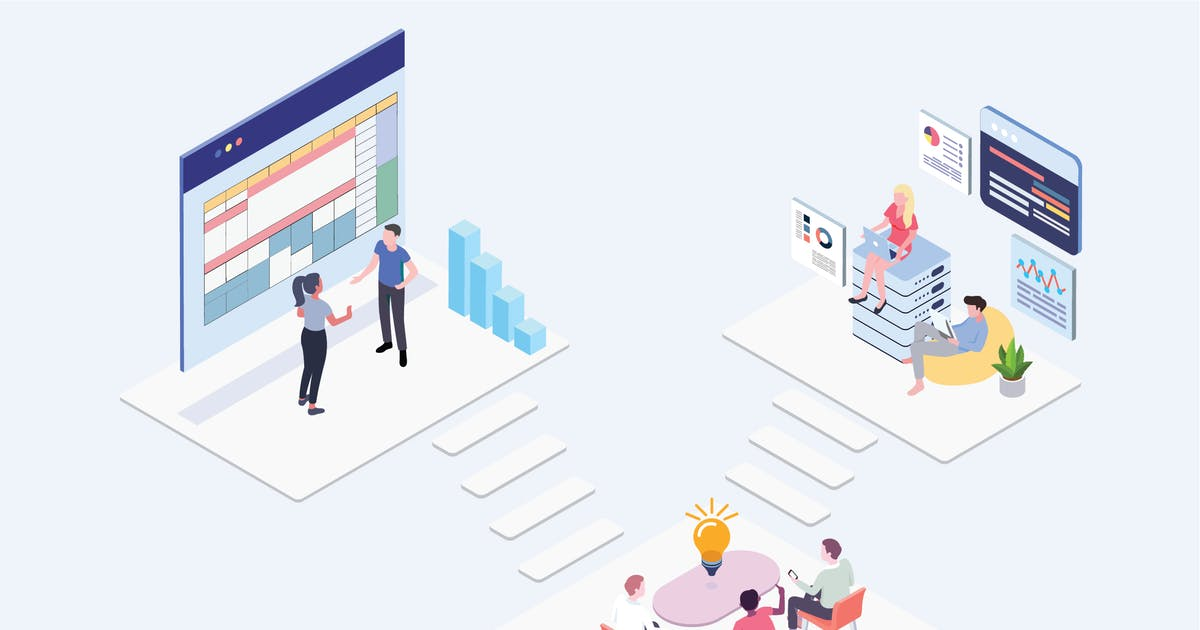 Team Working Isometric Illustration - G1 by angelbi88