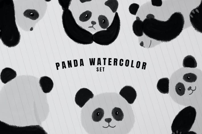 Thumbnail for 10 Panda Set Watercolor