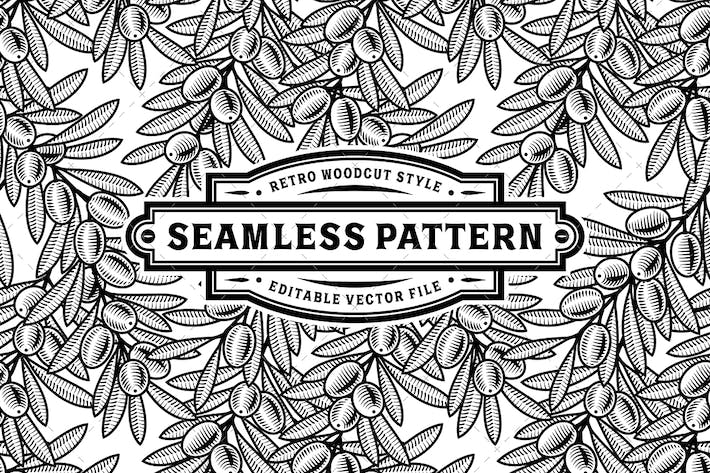 Thumbnail for Seamless Olive Pattern Black And White
