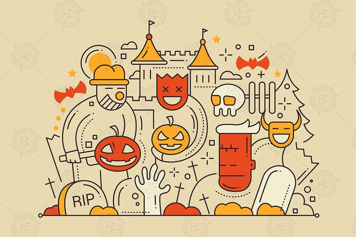 Thumbnail for Halloween - Line Design Illustration