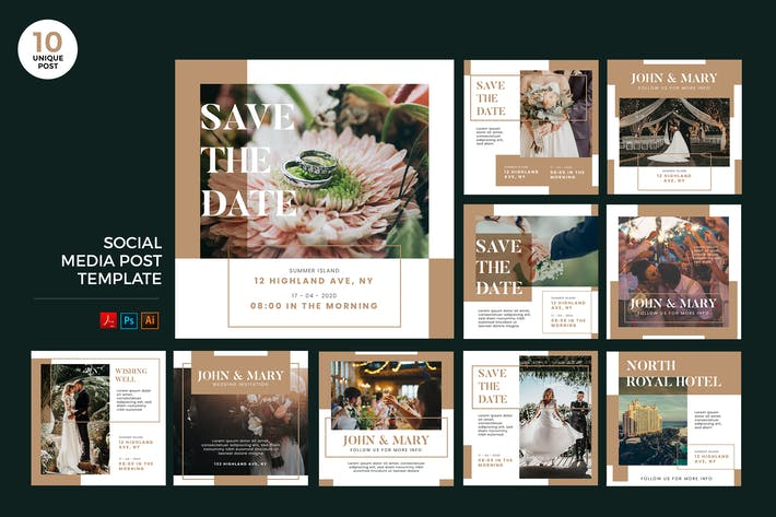 Thumbnail for Wedding Invitation Social Media Kit PSD & AI