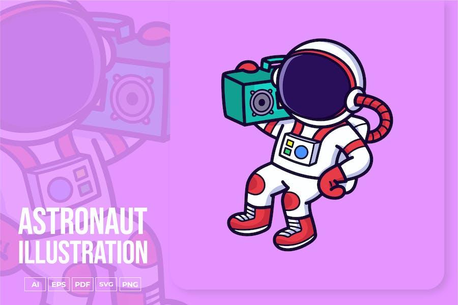Astronaut Holding Boombox