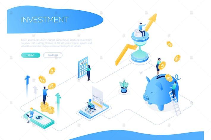 Thumbnail for Concepto de inversión - Banner web isométrico