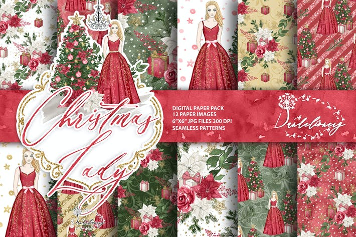 Cover Image For Christmas Lady digital paper pack
