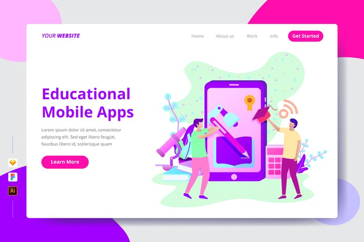Educational Mobile Apps - Landing Page