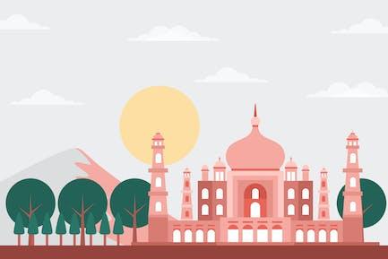 Taj Mahal - Building & Landscape Illustration