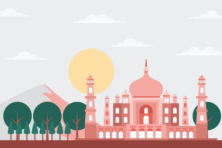 Taj Mahal - Building & Landscape Illustration