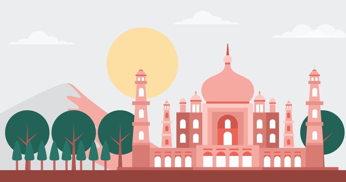 Download Taj Mahal - Building & Landscape Illustration by Graphiqa