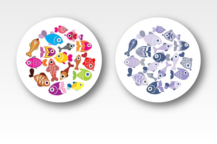 Thumbnail for Exotic Fish runde Form Vektor Designs