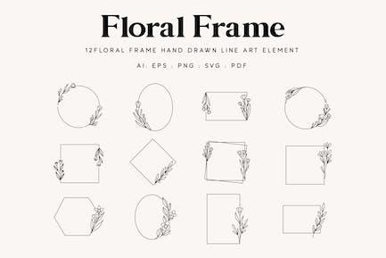 12 Floral Frame line art illustration element