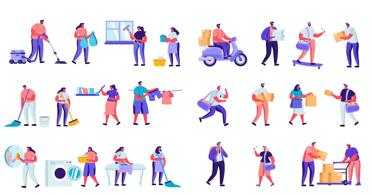 Download Flat Cartoon People Characters by alexdndz