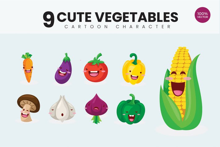 Thumbnail for 9 Cute Organic Vegetables Vector Illustration 1