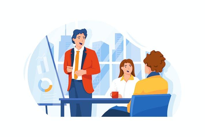 Thumbnail for Der Geschäftsmann gibt eine Präsentation im Raum