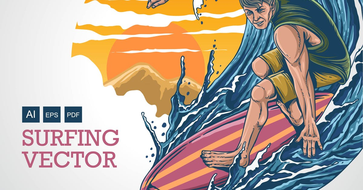 Download SURFING - Vector Illustration by Olexstudio