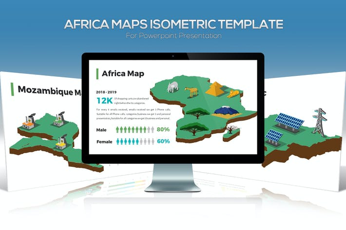 Thumbnail for Africa Maps Isometric & Legends For Powerpoint