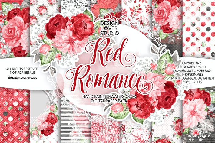 Thumbnail for Watercolor RED ROMANCE digital paper pack