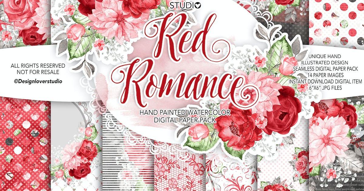 Download Watercolor RED ROMANCE digital paper pack by designloverstudio