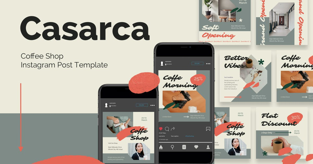 Download Coffee Shop Instagram Post Template by deTheme