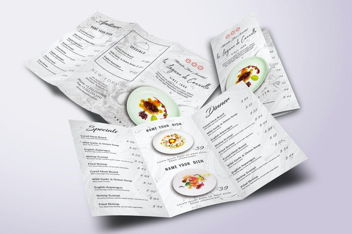 Thumbnail for Restaurant Trifold A4 & US Letter Minimal Menu