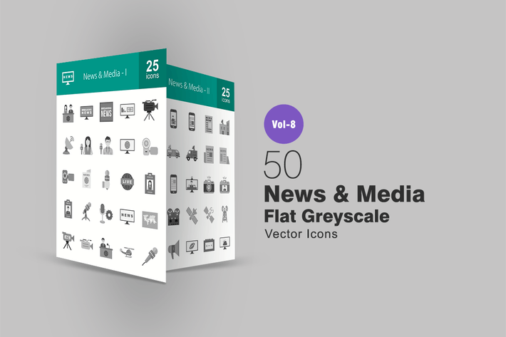 Thumbnail for 50 News & Media Flat Greyscale Icons